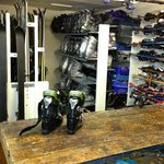 Mini ski shop downstairs.