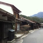 village road in front of the ryokan