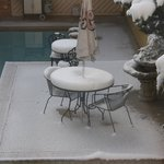 April Snow in the pool area