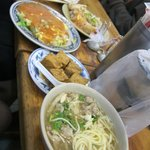 More tasty Ximen treats: Oyster Pancakes, noodle soup, tofu.