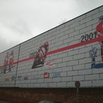  Timeline mural outside the factory 1