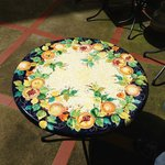 Ceramic hand-painted table by Pascal.