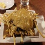  bun-less burger on poutine fries