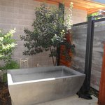 Outdoor stone tub & outdoor shower