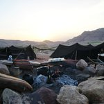  The Rock Camp, the fire pit and the setting sun