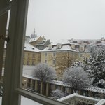  View from the window in a snowy day