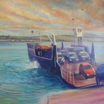 Painting of the Strangford ferry in Cuan's fish & chip shop