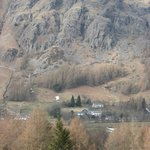 View of the hotel and its environment from across the Langdale Valley