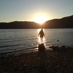 My daughter sunset Dores Beach Loch Ness