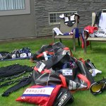 Drying our gear in the sunny courtyard!