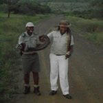  Drivers on our game drive caught an 8 foot python so we could take pictures with it