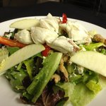 Apple bleu cheese salad with jumbo pieces of crab meat