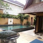 Pool and entrance to downstairs room