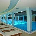 Our pool with glass roof has doors that open directly onto the sun terrace