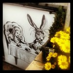 Wall art by local artist Mat McIvor, you will find Alice in the Beer garden!