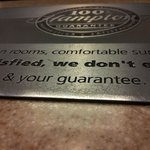 Hampton Inn's guarantee plaque