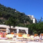  view from sun lounger towards poolside resteraunt area