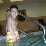 Our son at the pool. It was warm!