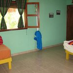 Our room, had a double bed and single bed and bath.
