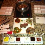 meat fondue - with the dips