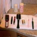  After cleaning sink, houskeeping lined up personal items on clean towel. Nice touch!