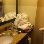  Housekeeping threw towels in room after cleaning.