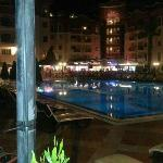 the pool view at night