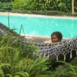 Our hammock hung near the pool