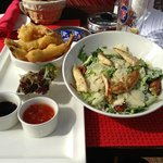 Ceasars Salad Chicken & Fried tempura gulf prawns