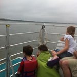 kids watching for dolphins