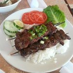 Bún Bò Nuong - 3 skewers of grilled  lemongrass beef over vermicelli.