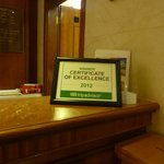  Certificate on the reception desk