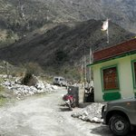 My bike in front of Saikripa's Lachung Hotel