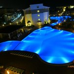  View from our room of main pool at night