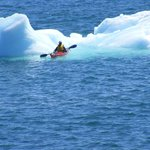  George kayak and small iceberg.