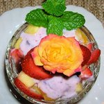  garden rose on fruit salad