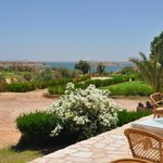 Patio in back of hotel and view of Lake Nasser