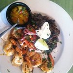Chipotle Honey Glazed Shrimp with black bean frito