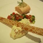  poached salmon,smoked salmon cream
