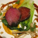  pigeon breast,pak choi,carrot puree