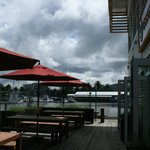 outside seating overlooking harbor