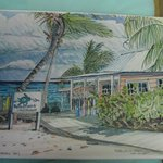 My watercolor print of The LCBR dock/dive shop!