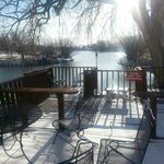 View of the fishing lake from the back deck of the Rodeway Inn