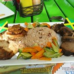  Jerk Combo Appetizer wtih Rice and Peas