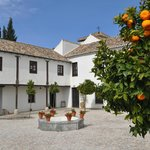 The courtyard with its fountain and orange trees.