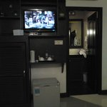LCD TV, Fridge, closet