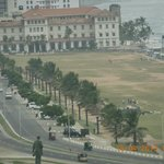 View from Galadari Hotel window - the Galle Face Green with the 1864-built Galle Face Hotel