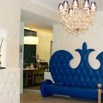 My favourite BLU sofa! Everything is blue and white in the decor.