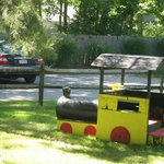  Front yard of cabin 33 with train for kids