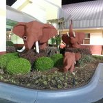 Elephants in front of hotel...